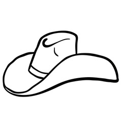black and white cowboy hat cartoon vector image
