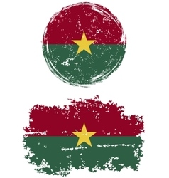 Burkina Faso round and square grunge flags vector image vector image