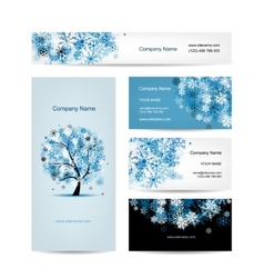 Business cards design winter tree vector image vector image
