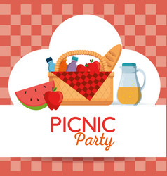 colorful picnic party poster vector image vector image