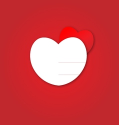 Cute white heart and red heart on red background vector image vector image