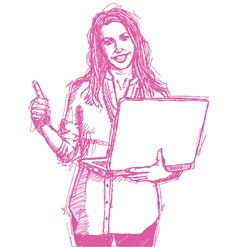 female laptop vector image vector image