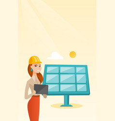 Female worker of solar power plant vector