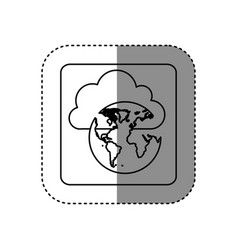 Figure cloud data global network icon vector
