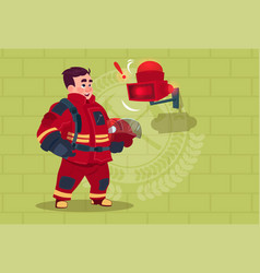 Fireman hear alarm wearing uniform hold helmet vector