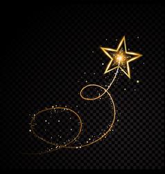 Gold glittering spiral star dust trail sparkling vector