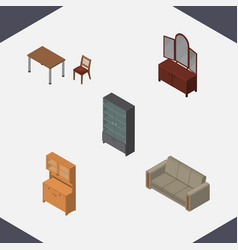 Isometric furniture set of sideboard cupboard vector