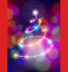 Merry christmas bokeh background star pine tree vector image vector image