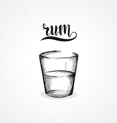 Monochrome rum in glass with calligraphy sketch by vector