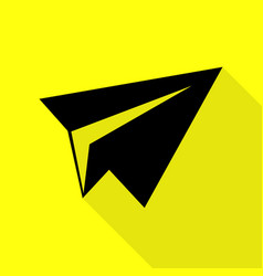 paper airplane sign black icon with flat style vector image