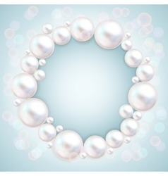 Pearl beads wedding invitation frame on blue vector image