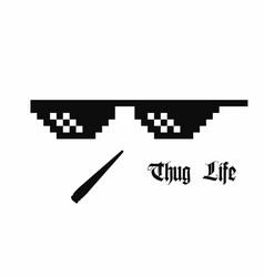 pixel art glasses thug life meme glasses with vector image
