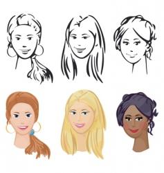portrait of three girls vector image