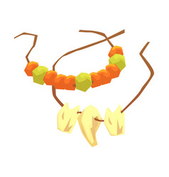 primitive necklaces made of animal teeth and vector image vector image