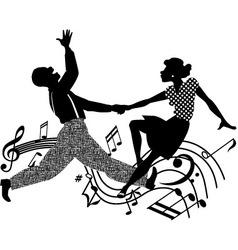 Retro dancing silhouette vector image