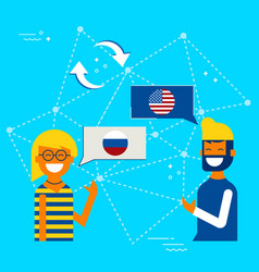 Russian and american online chat translation vector