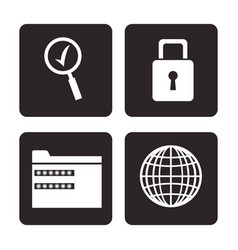 set cyber security prootection data technology vector image