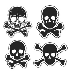 Set of skulls and crossbones vector