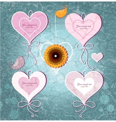 Set of vintage hearts on grunge background vector image vector image
