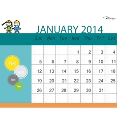 Simple 2014 calendar January vector image vector image
