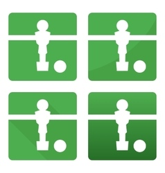 Soccer kicker table white football player and ball vector