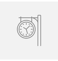 Train station clock line icon vector image