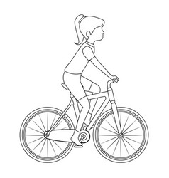 woman cyclist riding a bicycle vector image