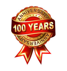 100 years anniversary golden label with ribbon vector