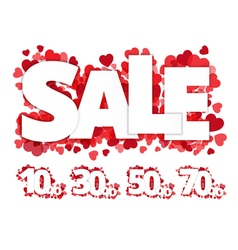 White sale sign over red hearts vector