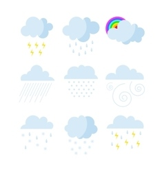 Set of rainy weather clouds icons vector