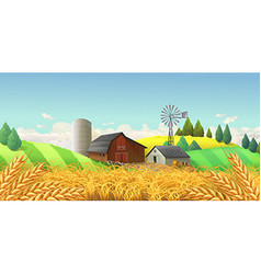 Wheat field Farm landscape background vector image