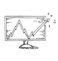 Computer hand drawing with stock market vector