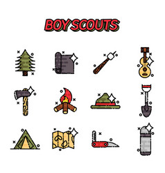 Boy scouts flat concept icons vector
