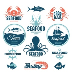 Seafood labels vector
