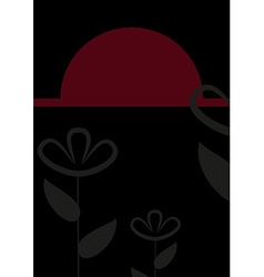 Abstract black and red floral card vector