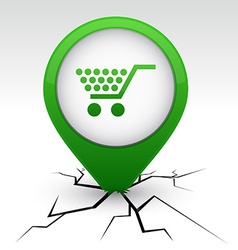Shopping green icon in crack vector