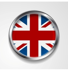 United kingdom of great britain metal button flag vector