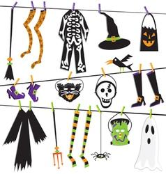halloween costume clothesline vector image