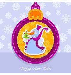 Christmas ball postcard snowman with fir-tree vector