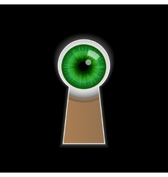 Cartoon green eye peeping through the keyhole vector