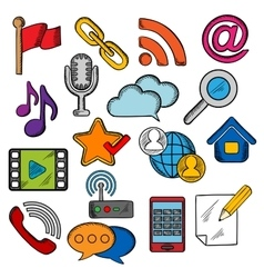 Multimedia and communication icons set vector image