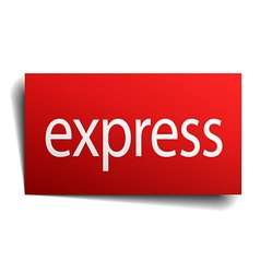 Express red square isolated paper sign on white vector