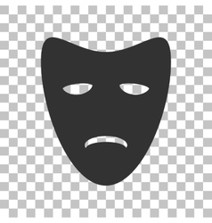 Tragedy theatrical masks dark gray icon on vector