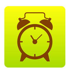 Alarm clock sign brown icon at green vector