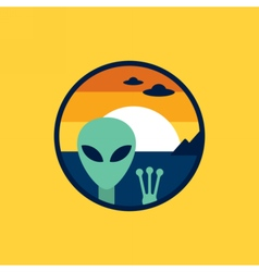 Alien and ufo cosmic circle icon vector