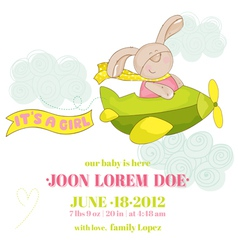 Baby bunny on a plane - baby shower card vector