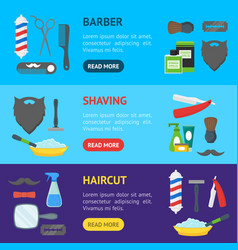 cartoon barbershop shop banner horizontal set vector image vector image