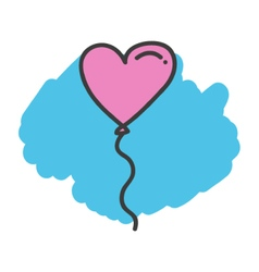 Cartoon doodle heart balloon vector image