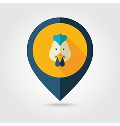 Chicken flat pin map icon Animal head vector image vector image