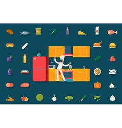 Chief cook food and dish room kitchen furniture vector